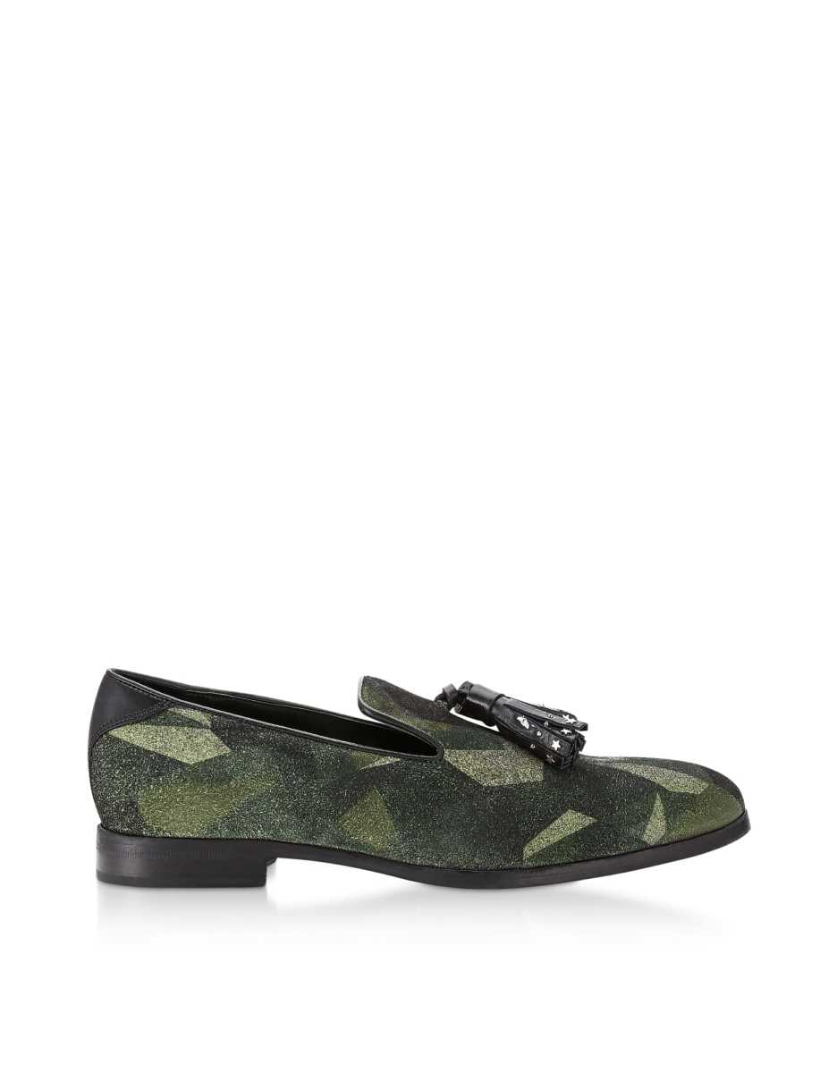 Jimmy Choo  Shoes Camo Print Suede Foxley UUA Loafers w/ Studded Tassel Dark Green USA - GOOFASH - Mens LOAFERS