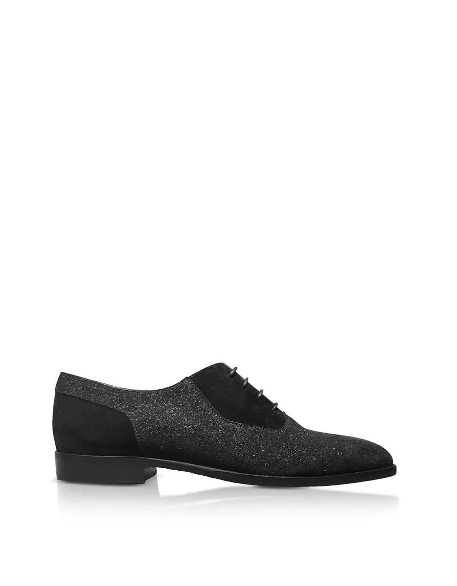 Jimmy Choo  Shoes Tyler Black Soft Glitter Suede Lace Up Shoes Black USA - GOOFASH - Mens FORMAL SHOES