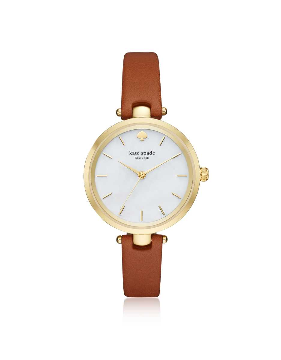 Kate Spade New York  Women's Watches Holland Luggage Skinny Strap Women's Watch Gold USA - GOOFASH - Womens WATCHES