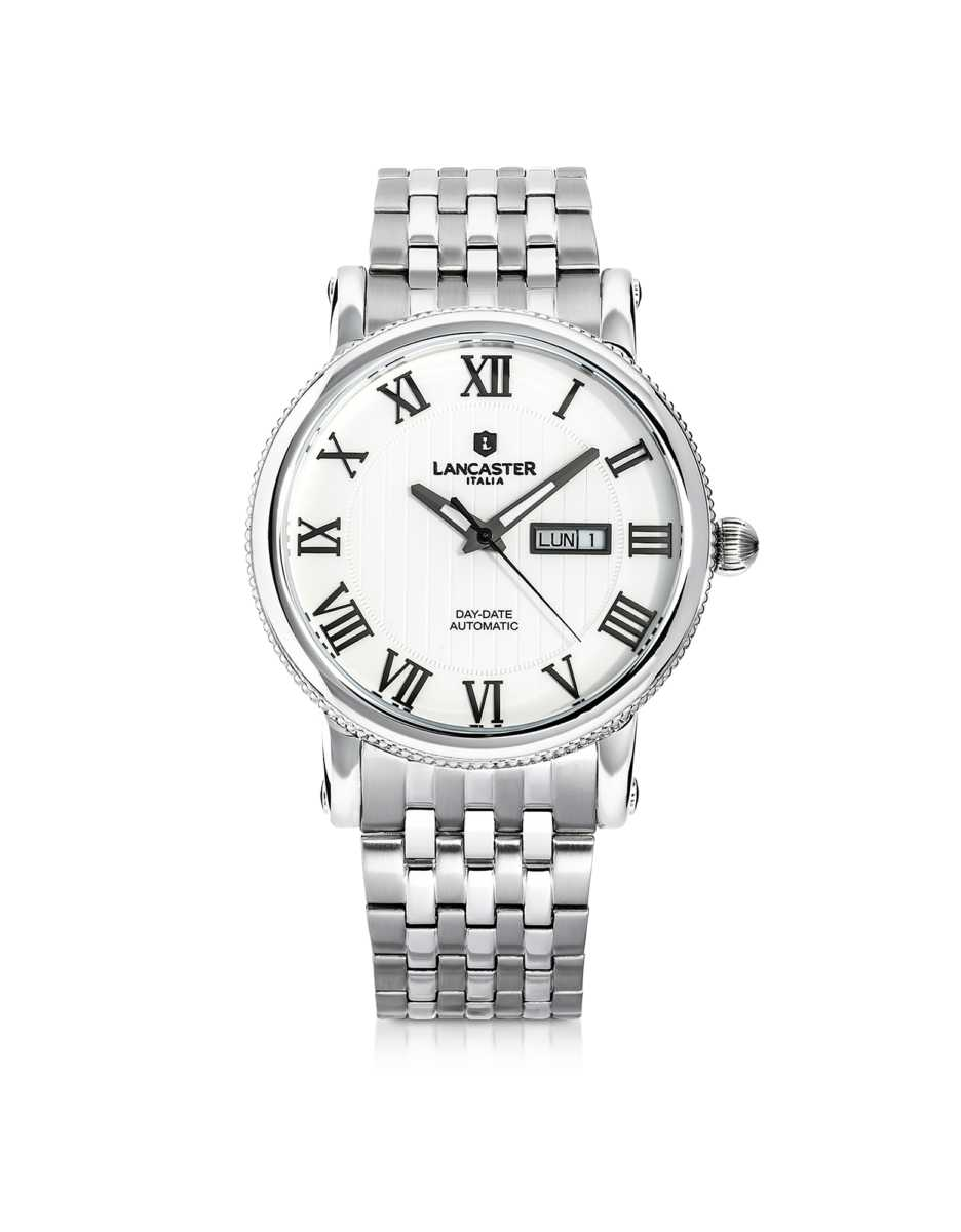 Lancaster  Men's Watches Monarch Automatic Stainless Steel Watch White USA - GOOFASH - Mens WATCHES