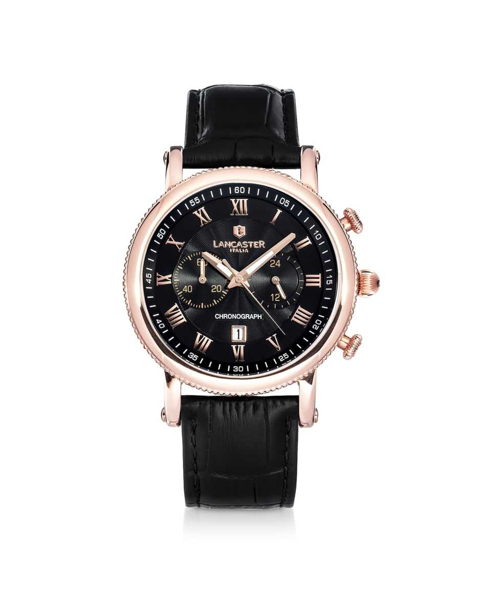 Lancaster  Men's Watches Monarch Chronograph Rose Gold Stainless Steel Watch Black USA - GOOFASH - Mens WATCHES