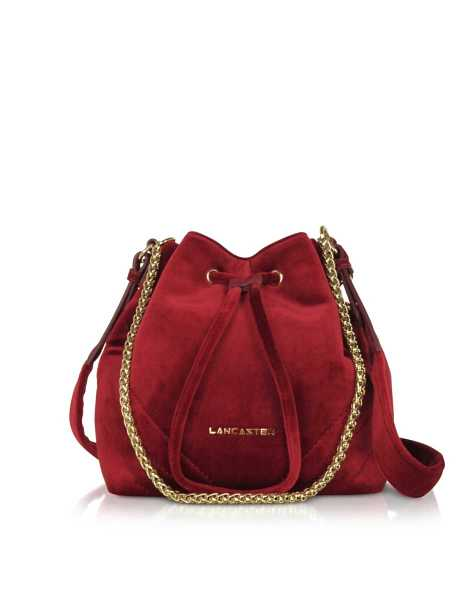 Lancaster Paris  Handbags Quilted Velvet Couture Small Bucket Bag Red USA - GOOFASH - Womens BAGS