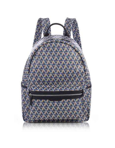 Lancaster Paris Men's Bags Ikon Blue Coated Canvas Men's Backpack Blue USA - GOOFASH - Mens COATS