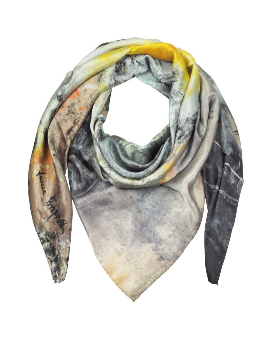 Laura Biagiotti  Scarves Multicolor Printed Twill Silk Oversized Scarf Grey USA - GOOFASH - Womens SCARFS