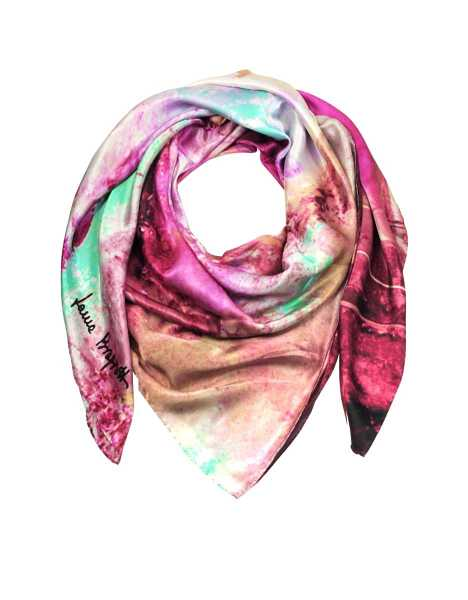 Laura Biagiotti Scarves Multicolor Printed Twill Silk Oversized Scarf Pink USA - GOOFASH - Womens SCARFS