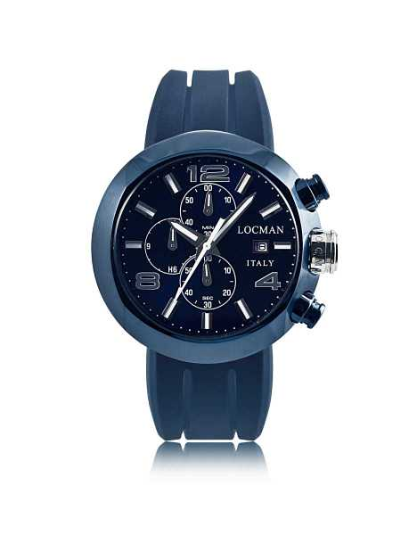 Locman Men's Watches Tondo Blue PVD Stainless Steel Chronograph Men's Watch w/Leather and Silicone Band Set Blue USA - GOOFASH - Mens WATCHES