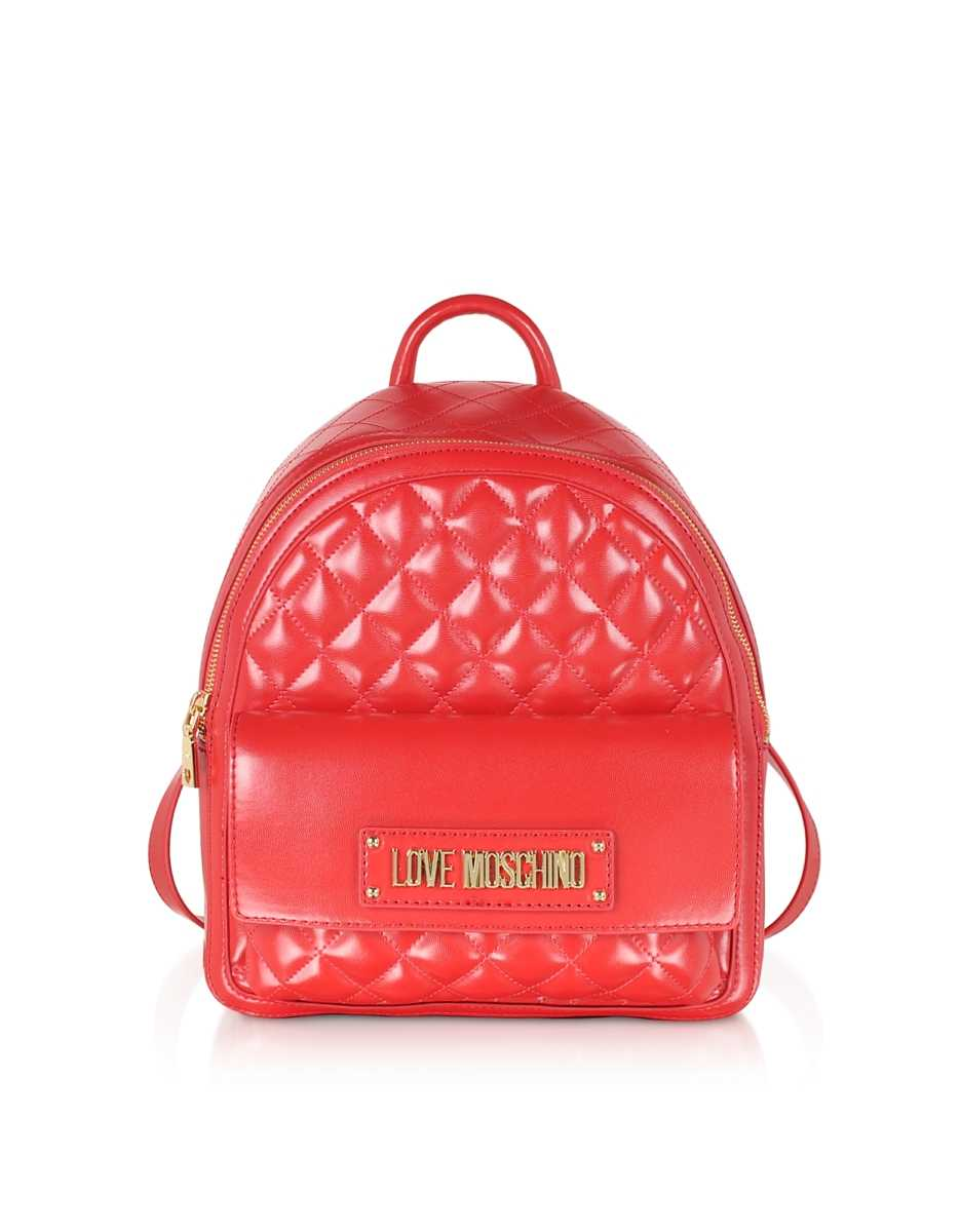 Love Moschino  Handbags Quilted Eco-leather Backpack Red USA - GOOFASH - Womens BAGS