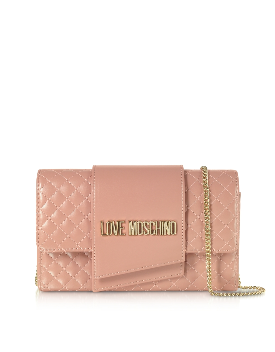 Love Moschino  Handbags Quilted Eco-leather Clutch Bag Powder USA - GOOFASH - Womens BAGS