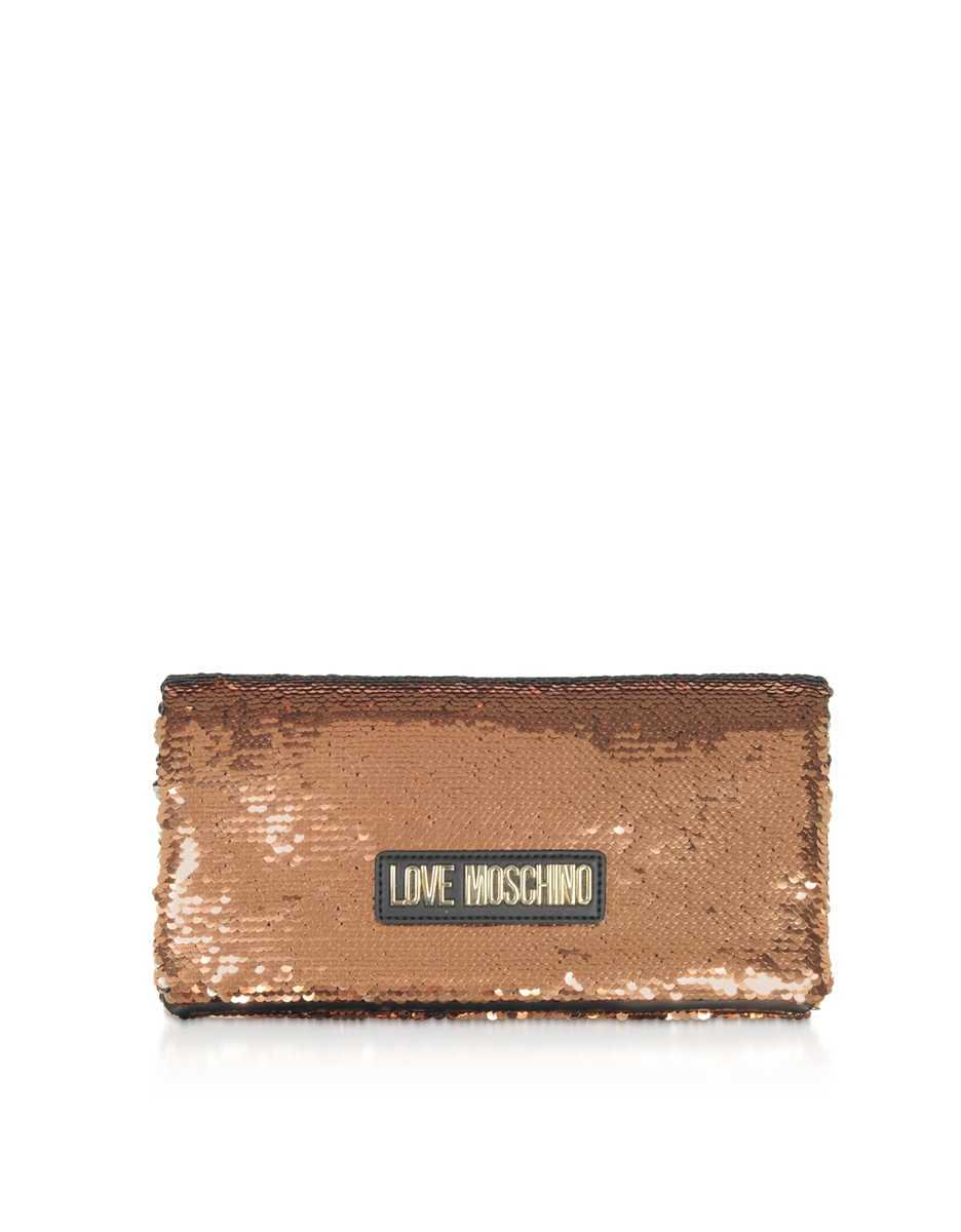 Love Moschino  Handbags Rose Gold Sequins Clutch w/ Chain Straps Rose Gold USA - GOOFASH - Womens BAGS