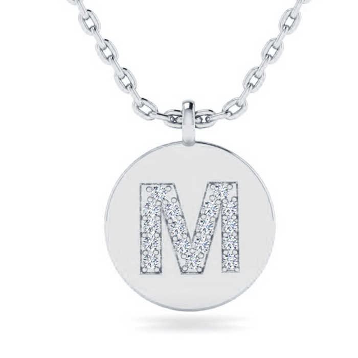 M Initial Necklace in 14K White Gold (2 g) w/ 17 Diamonds