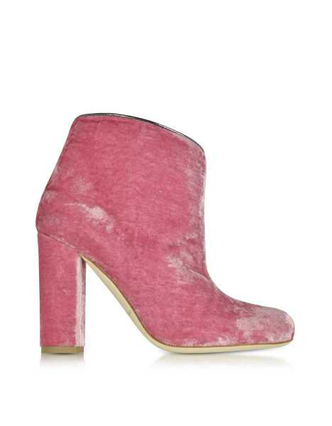 Malone Souliers Shoes Eula Pink and Charcoal Velvet Ankle Boots Pink USA - GOOFASH - Womens ANKLE BOOTS