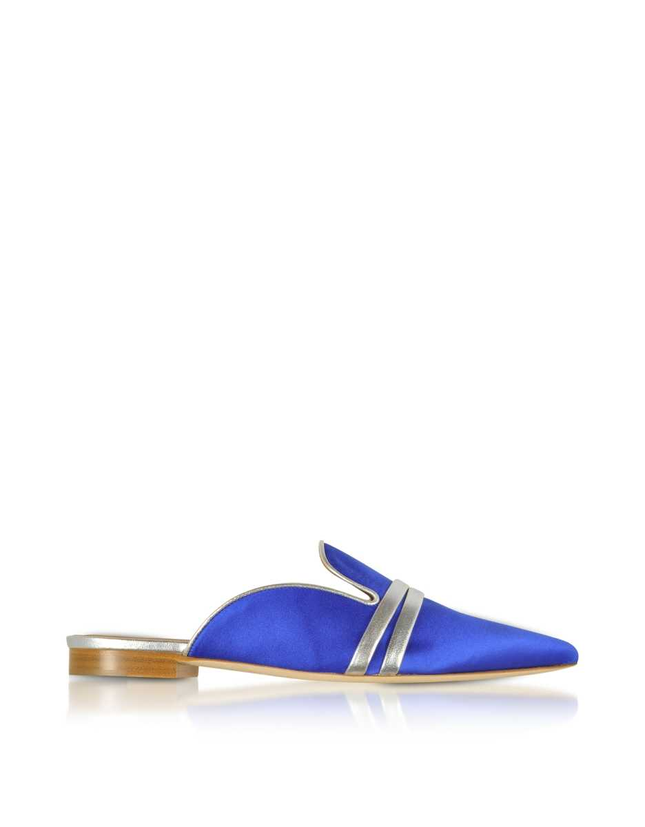 Malone Souliers  Shoes Hermione Blue Satin and Metallic Nappa Mules Blue USA - GOOFASH - Womens HOUSE SHOES