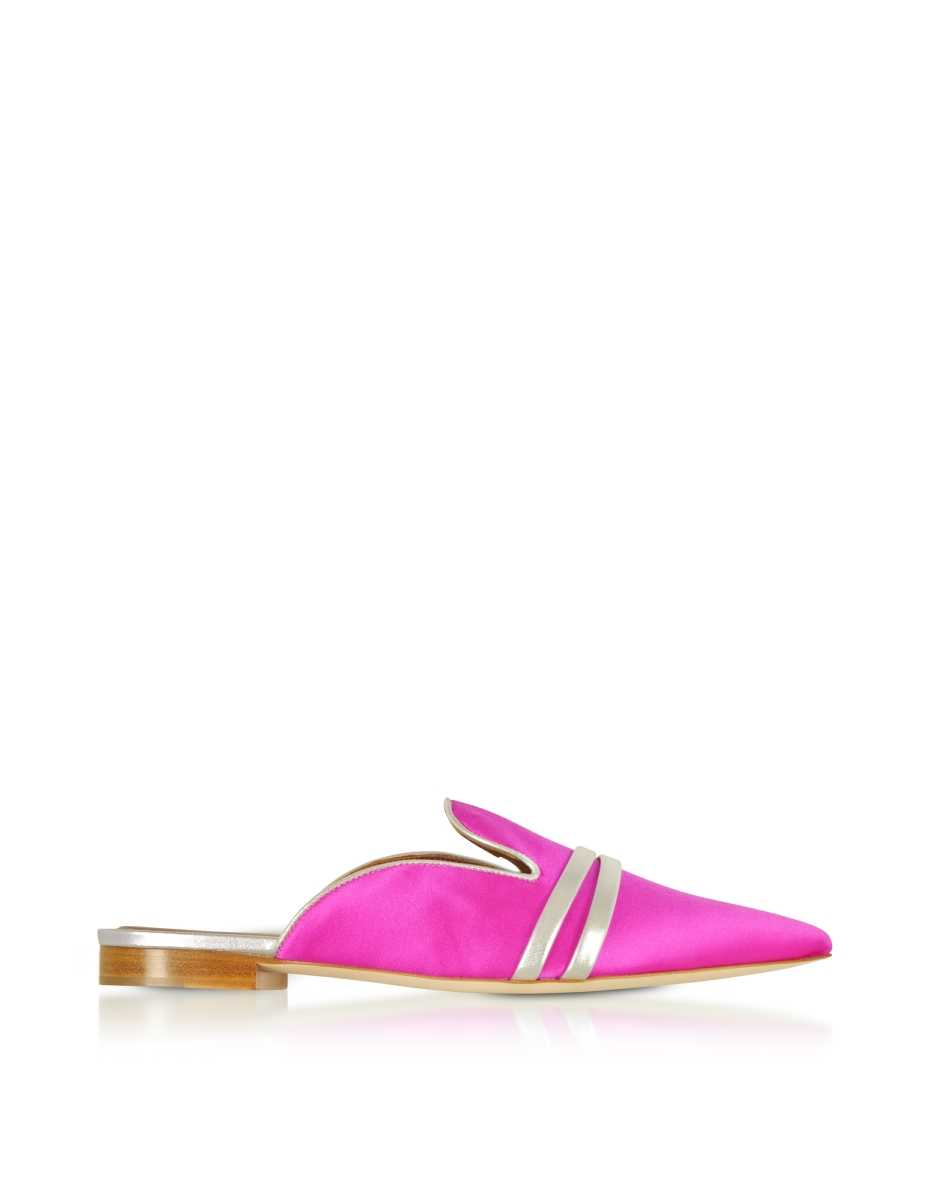 Malone Souliers  Shoes Hermione Fuchsia Satin and Metallic Nappa Mules Fuchsia USA - GOOFASH - Womens HOUSE SHOES