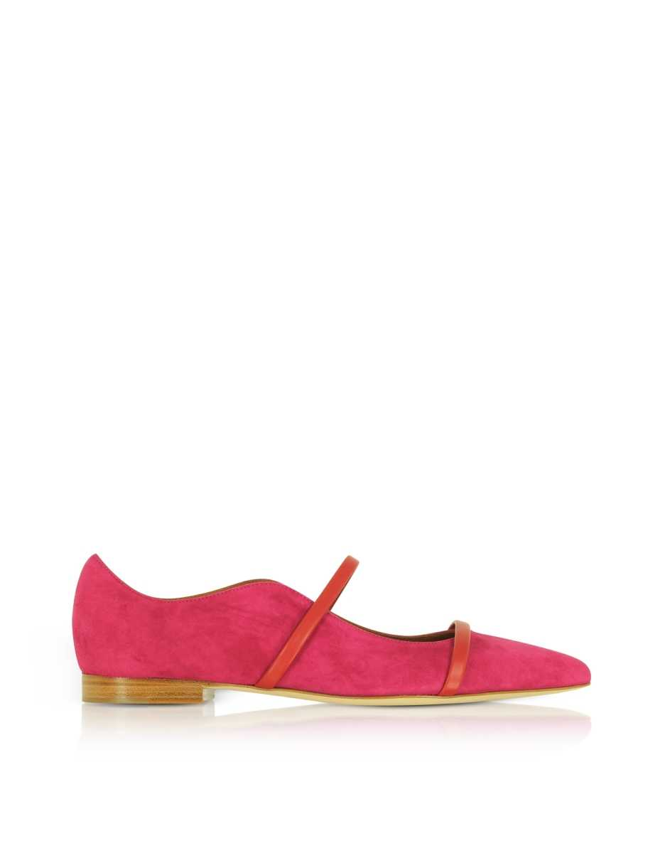 Malone Souliers  Shoes Maureen Red Suede and Cherry Nappa Flat Pumps Maize USA - GOOFASH - Womens FLAT SHOES