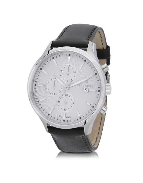 Maserati Men's Watches Attrazione Silver Tone Stainless Steel Case and Black Leather Strap Men's Chrono Watch Silver USA - GOOFASH - Mens WATCHES