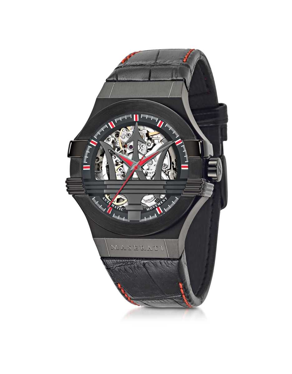 Maserati  Men's Watches Black Stainless Steel Case and Leather Strap Men's Watch Black USA - GOOFASH - Mens WATCHES