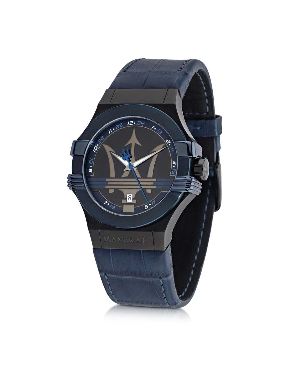 Maserati  Men's Watches Potenza Blue Stainless Steel Men's Watch w/Croco Embossed Leather Band Blue USA - GOOFASH - Mens WATCHES