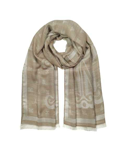 Max Mara Scarves Liuto Maxmaragram Jacquard Wool and Silk Stole Natural USA - GOOFASH - Womens SCARFS