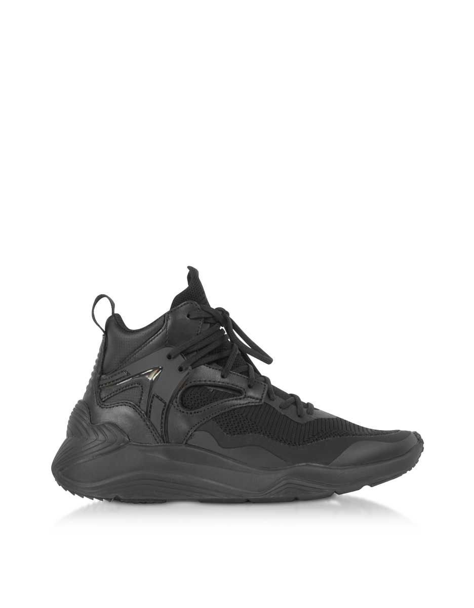 McQ Alexander McQueen  Shoes Sodai Black Calf Leather and Fabric Women's Sneakers Black USA - GOOFASH - Womens SNEAKER