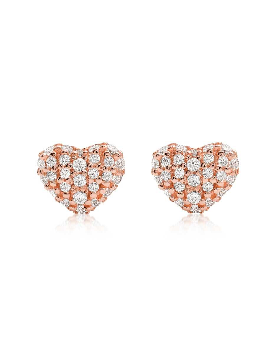 Michael Kors  Earrings Heart 14K Rose Gold Plated Sterling Silver Pavé Studs Rose Gold USA - GOOFASH - Womens JEWELRY