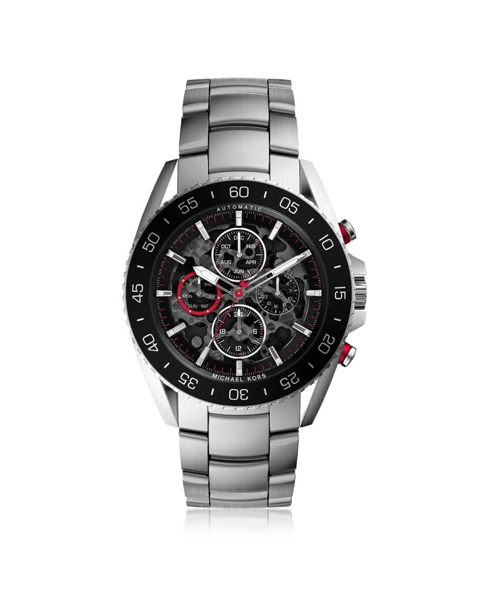 Michael Kors  Men's Watches Jetmaster Silver Tone Stainless Steel Men's Chrono Watch Silver USA - GOOFASH - Mens WATCHES