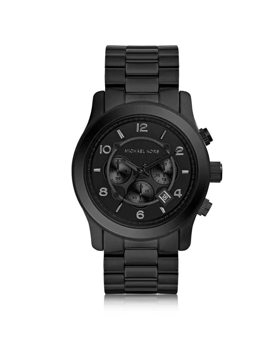 Michael Kors  Men's Watches Runway Black Stainless Steel Men's Chrono Watch Black USA - GOOFASH - Mens WATCHES