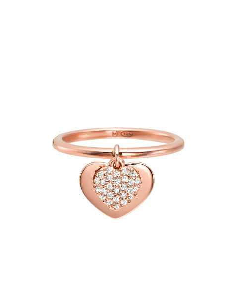 Michael Kors  Rings Kors Heart 14K Rose Gold Plated Sterling Silver Pavé Ring Rose Gold USA - GOOFASH - Womens JEWELRY