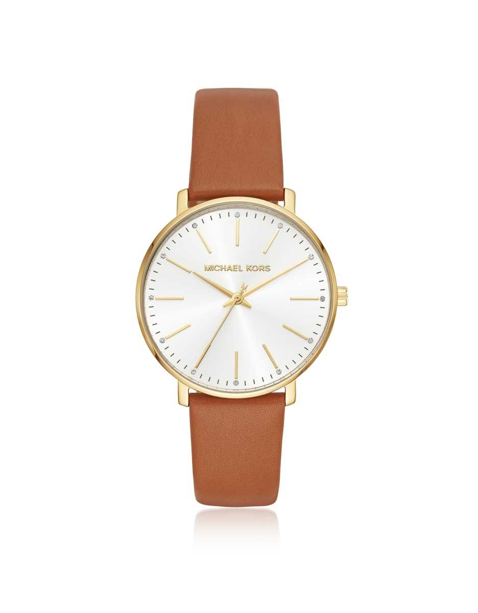 Michael Kors  Women's Watches Michael Kors Women's Gold-Tone and Luggage Leather Pyper Watch Gold USA - GOOFASH - Womens WATCHES