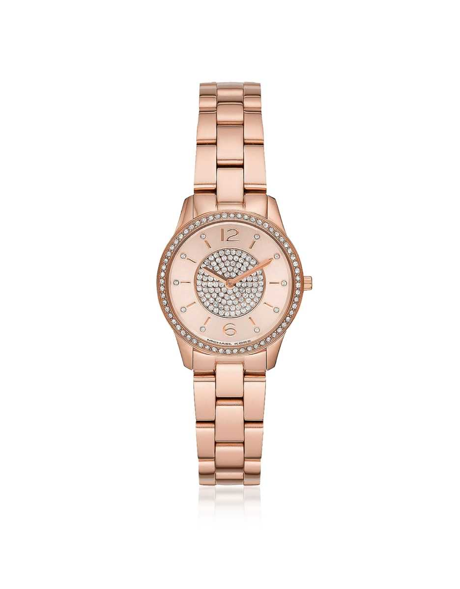 Michael Kors  Women's Watches Mini Runway Pavé Rose Gold-Tone Watch Rose Gold USA - GOOFASH - Womens WATCHES