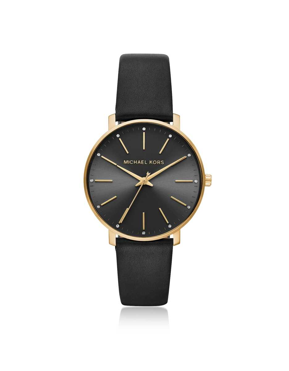 Michael Kors  Women's Watches Pyper Gold Tone and Black Leather Watch Gold USA - GOOFASH - Womens WATCHES