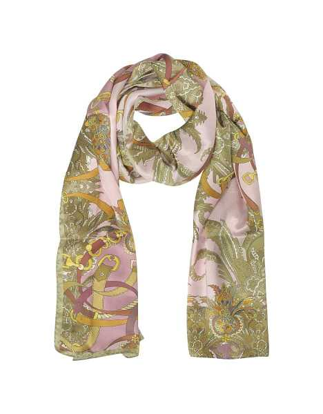Mila Schon Scarves Ornamental and Pattern Printed Satin Silk Stole Pink USA - GOOFASH - Womens SCARFS