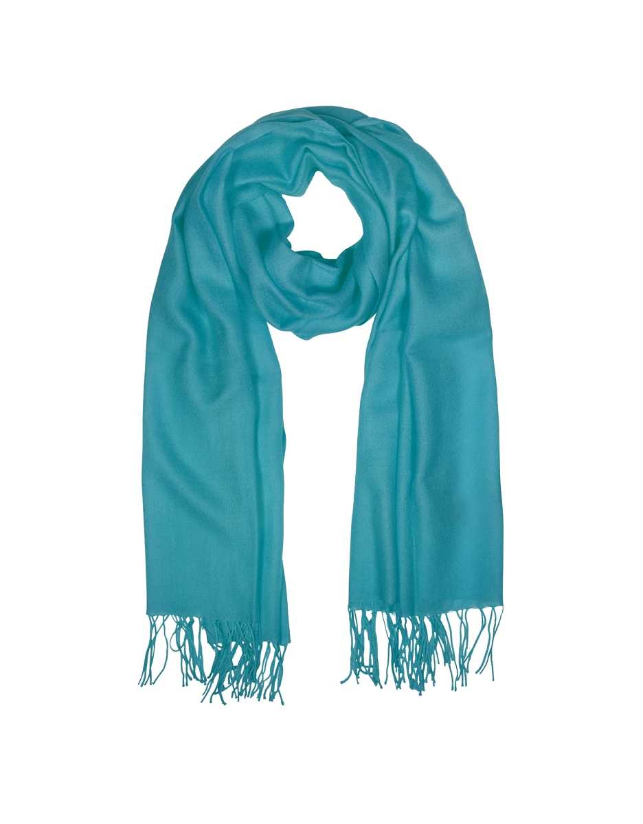 Mila Schon  Scarves Wool and Cashmere Fringed Stole Turquoise USA - GOOFASH - Womens SCARFS