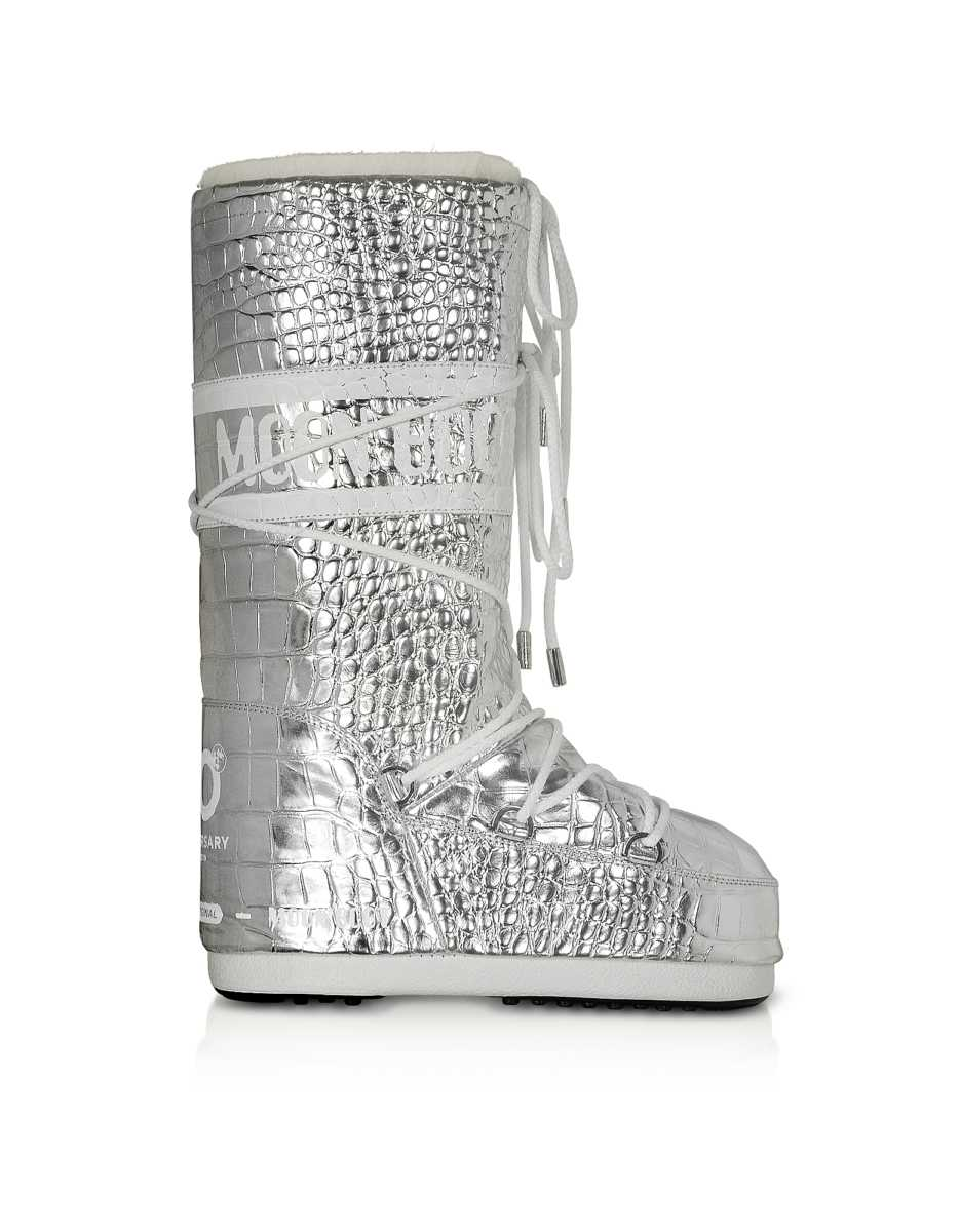 Moon Boot  Shoes Classic 50 Silver Crocodile Boots Silver USA - GOOFASH - Womens BOOTS