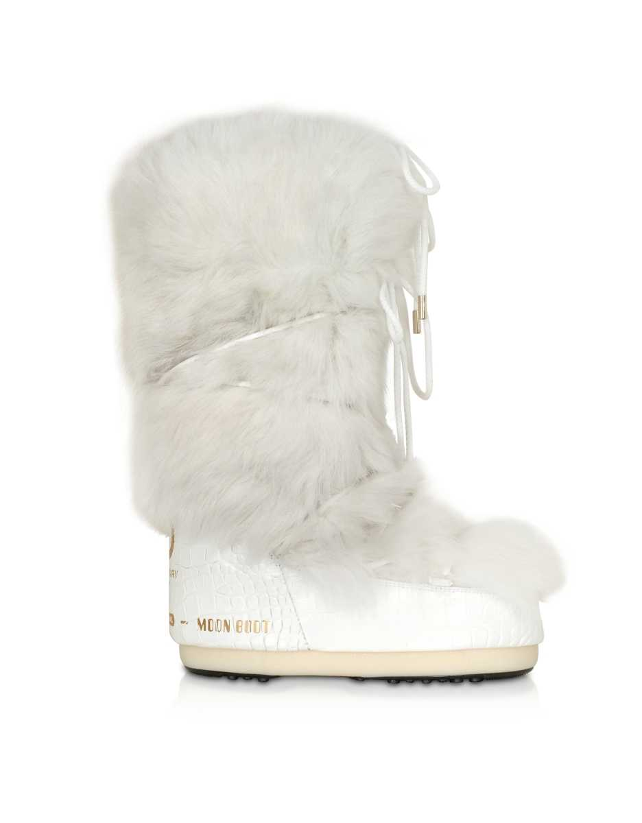 Moon Boot  Shoes Classic 50 White Shearling Boots White USA - GOOFASH - Womens BOOTS