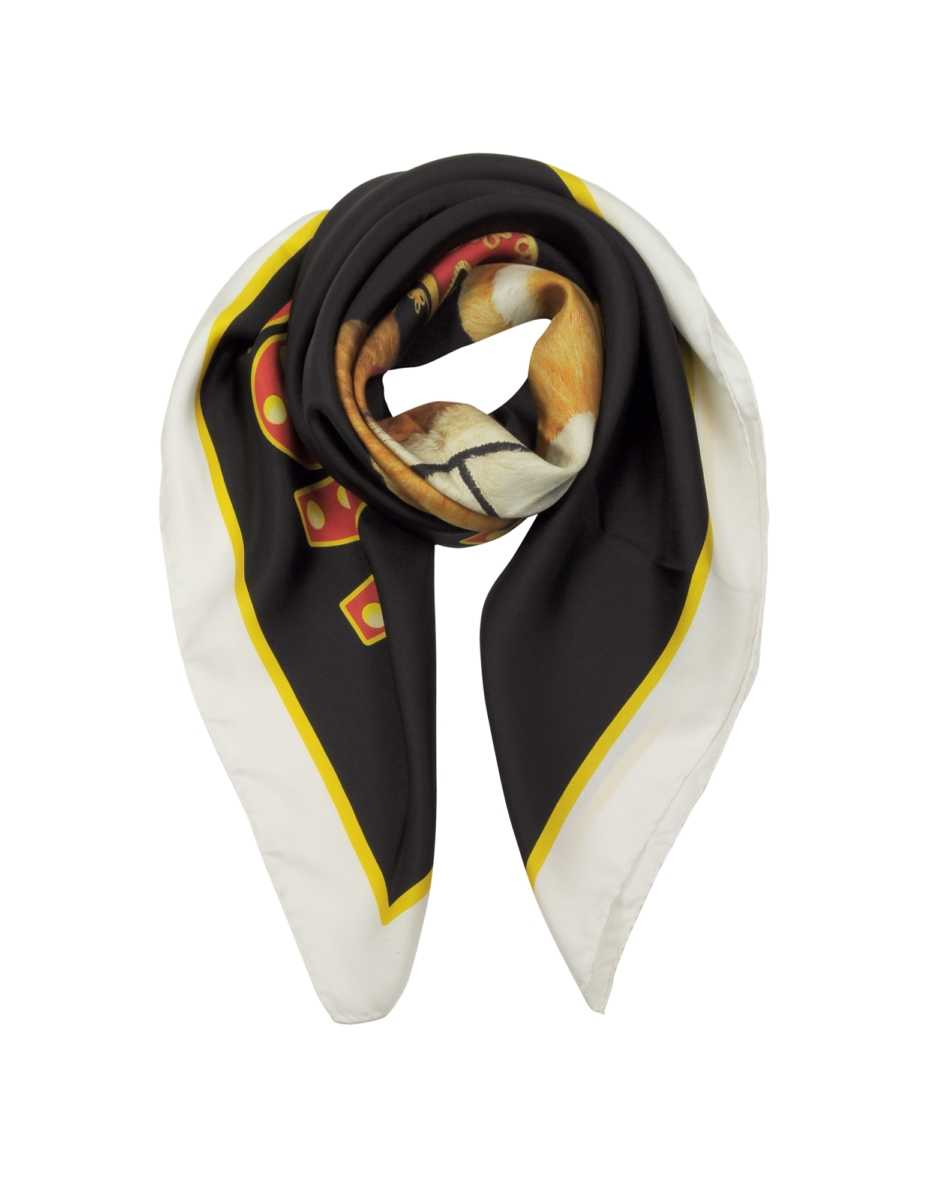 Moschino  Scarves Circus Teddy Bear Twill Silk Square Scarf Black USA - GOOFASH - Womens SCARFS