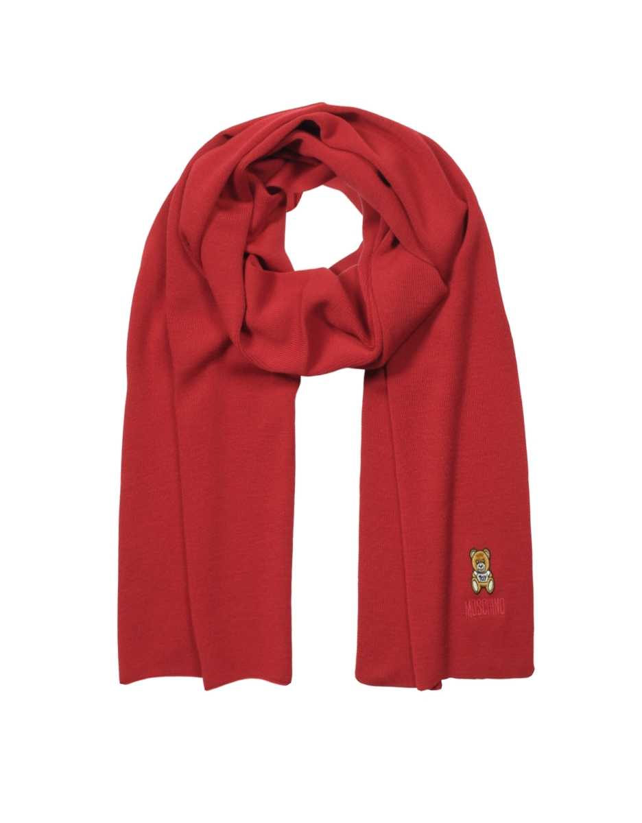 Moschino  Scarves Moschino Toy Embroidered Scarf Red USA - GOOFASH - Womens SCARFS