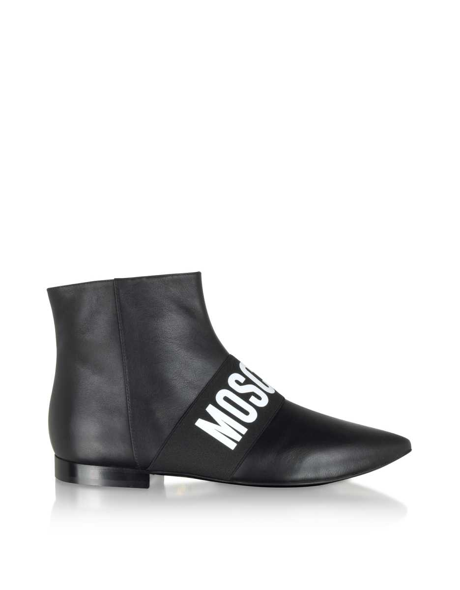 Moschino  Shoes Black Signature Leather Flat Ankle Boots Black USA - GOOFASH - Womens ANKLE BOOTS
