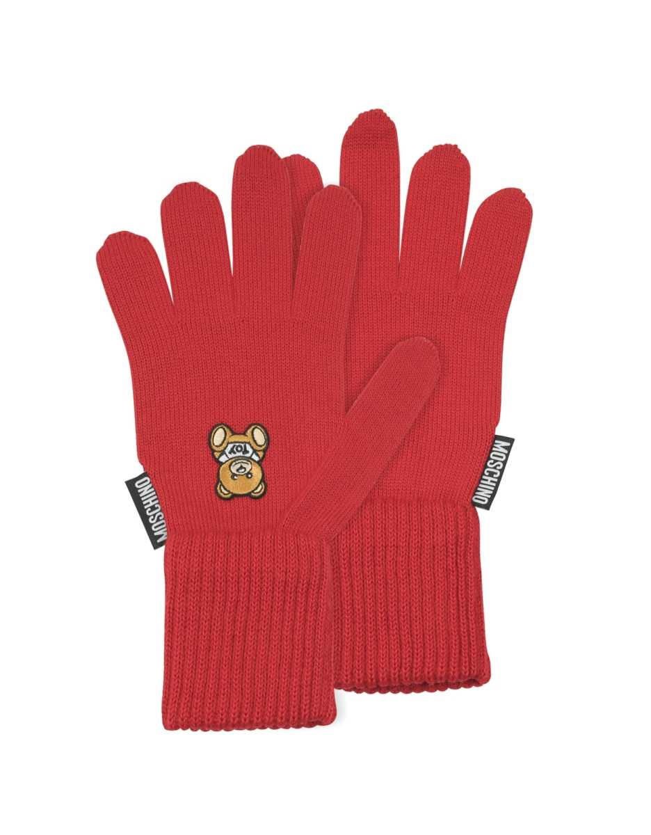 Moschino  Women's Gloves Moschino Toy Printed Gloves Red USA - GOOFASH - Womens GLOVES