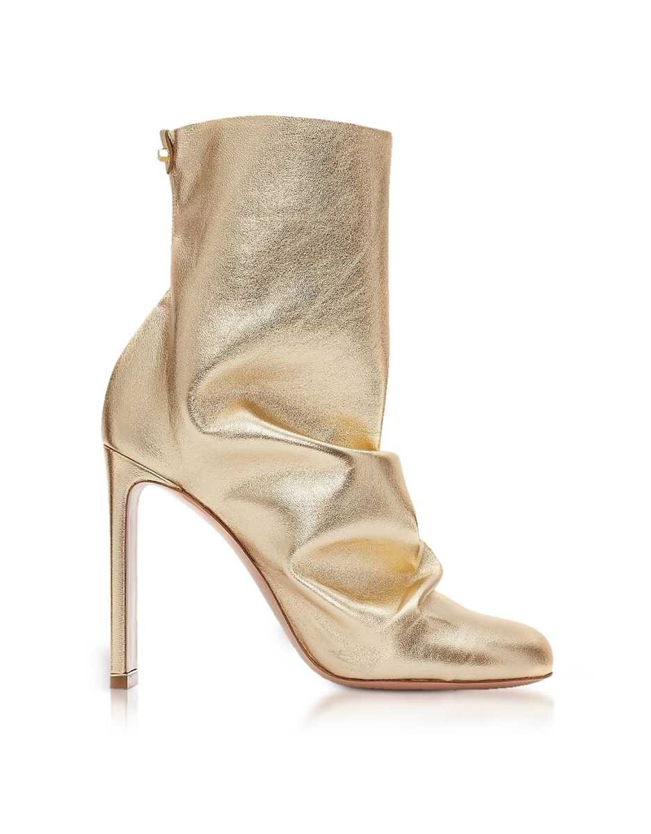 Nicholas Kirkwood  Shoes Light Gold Metallic Nappa 105mm D'Arcy Ankle Boots Gold USA - GOOFASH - Womens ANKLE BOOTS