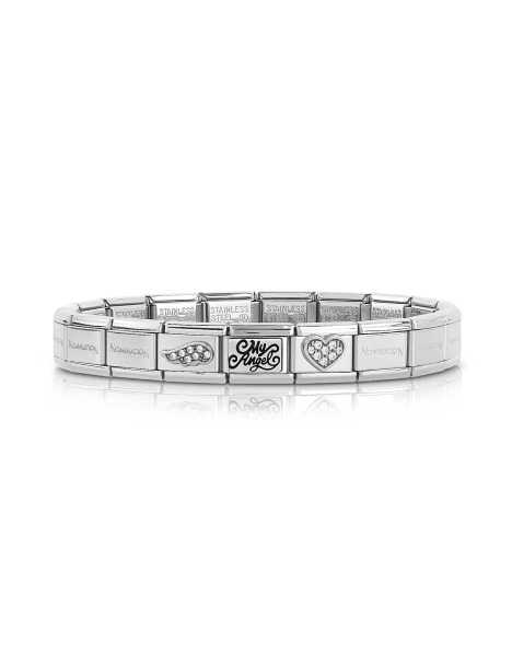 Nomination  Bracelets Classic My Angel Stainless Steel Women's Bracelet w/Cubic Zirconia Silver USA - GOOFASH - Womens T-SHIRTS