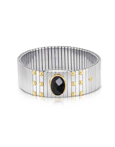 Nomination Bracelets Single Black Cubic Zirconia Stainless Steel w/Golden Studs Women's Bracelet Silver USA - GOOFASH - Womens T-SHIRTS
