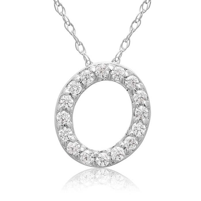 O Initial Necklace in 18K White Gold (2.6 g) w/ 16 Diamonds