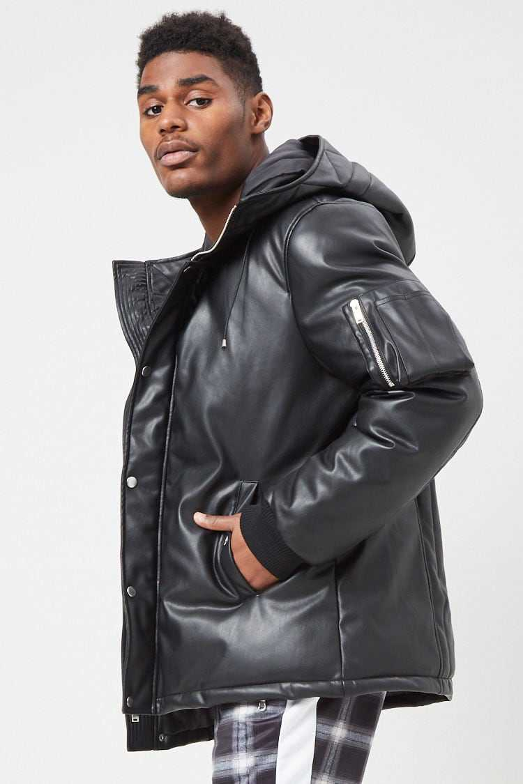 Padded Faux Leather Jacket at Forever 21
