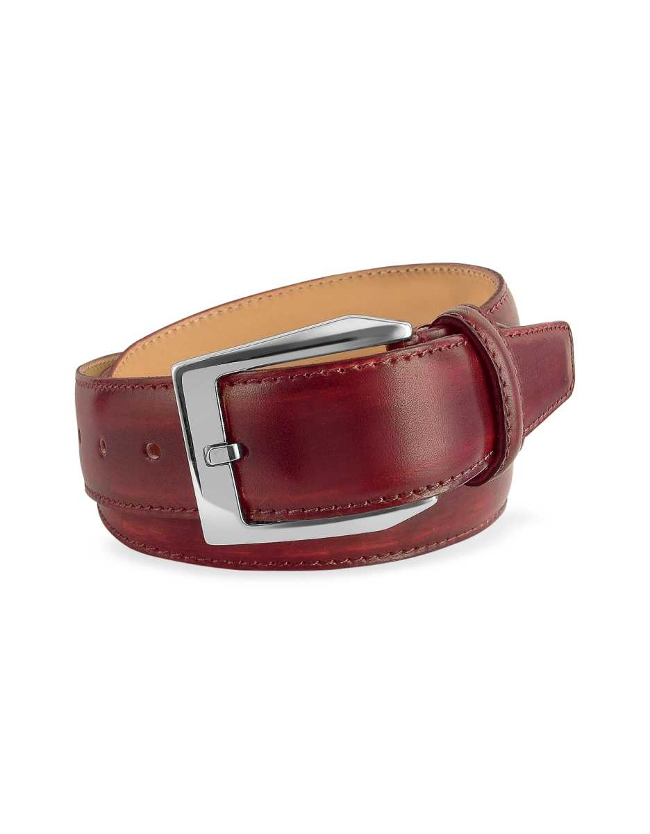 Pakerson  Men's Belts Men's Wine Red Hand Painted Italian Leather Belt Wine Red USA - GOOFASH - Mens BELTS