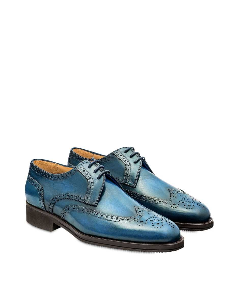 Pakerson  Shoes Bay Italian Handmade Calfskin Lace-Up Shoes Light Blue USA - GOOFASH - Mens FORMAL SHOES