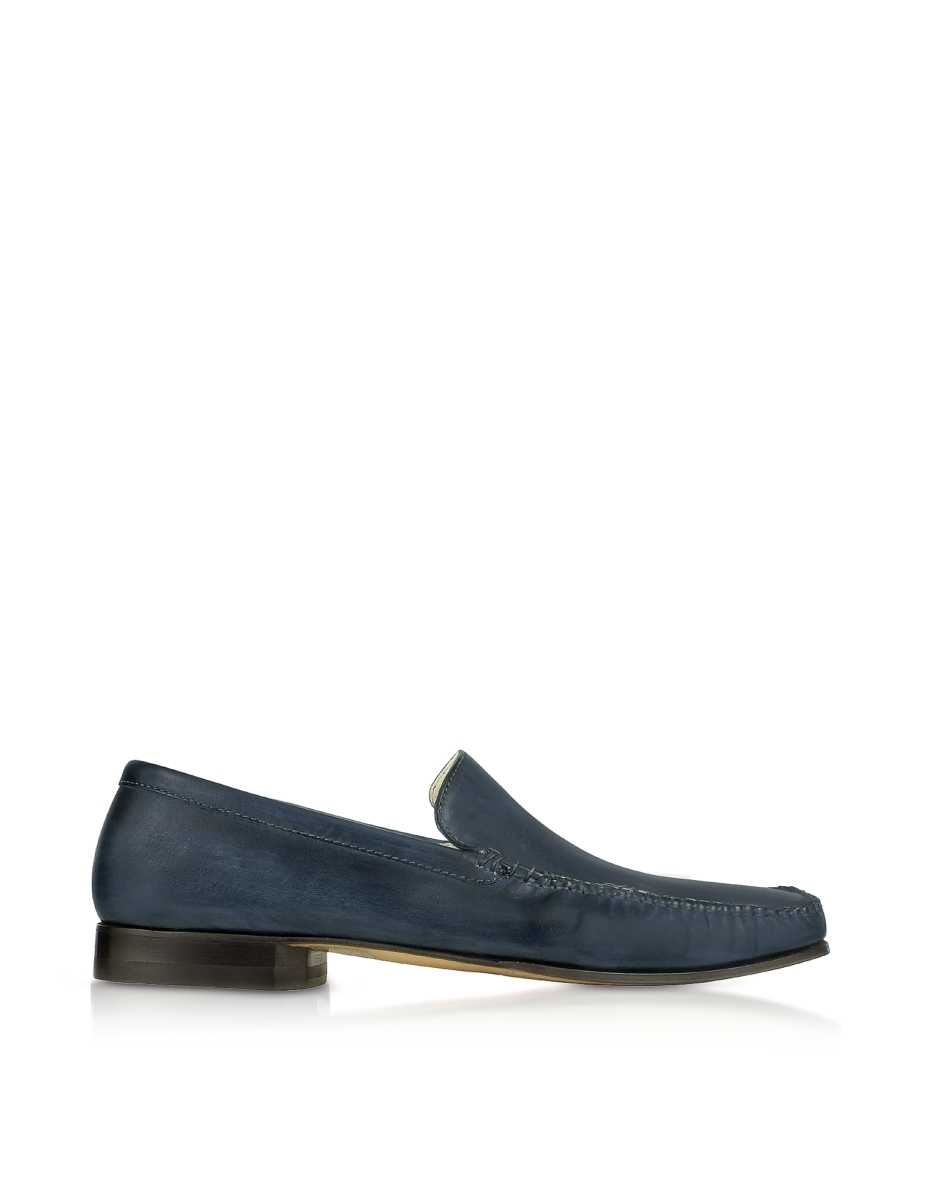 Pakerson  Shoes Blue Italian Handmade Leather Loafer Shoes Blue USA - GOOFASH - Mens LOAFERS
