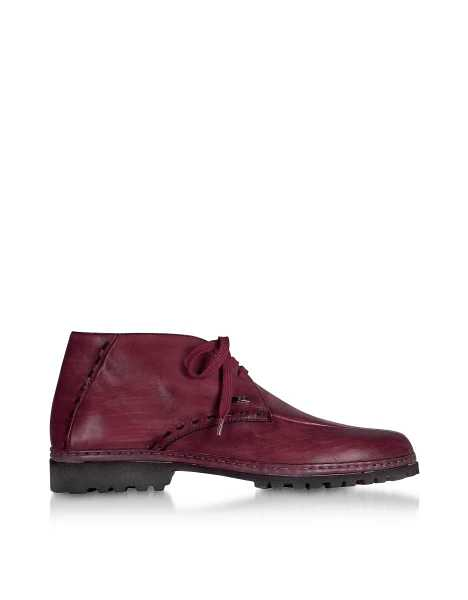 Pakerson Shoes Burgundy Handmade Italian Leather Ankle Boots Burgundy USA - GOOFASH - Mens BOOTS
