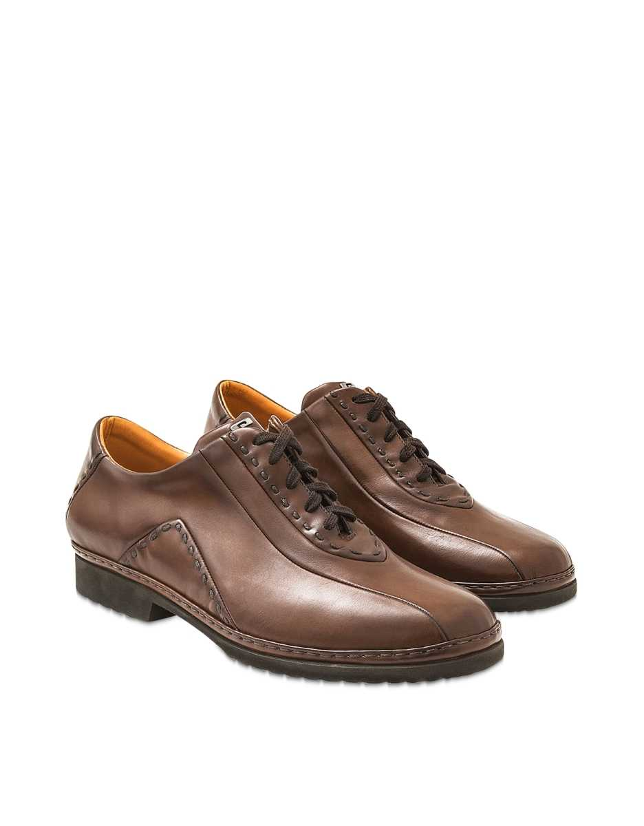 Pakerson  Shoes Cocoa Italian Hand Made Leather Lace-up Shoes Dark Brown USA - GOOFASH - Mens FORMAL SHOES