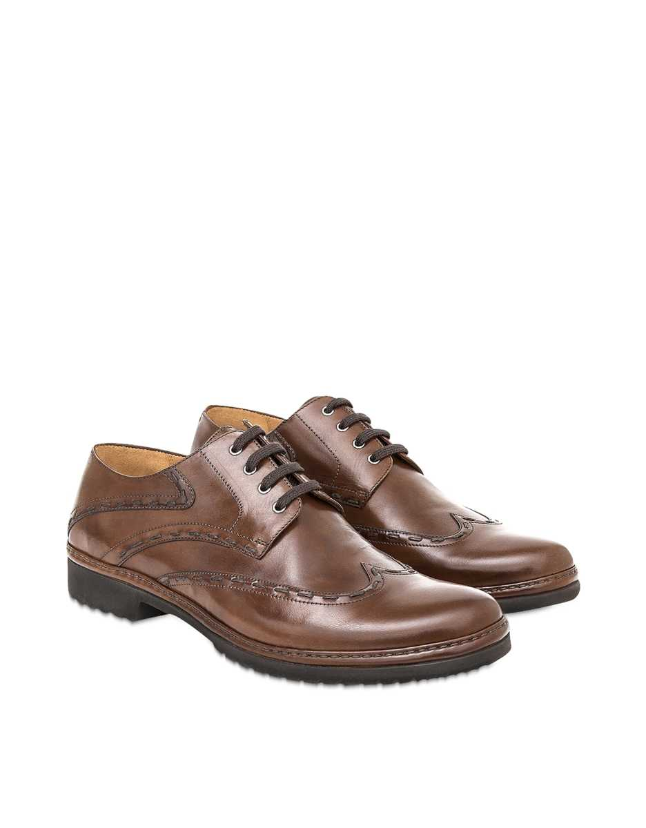 Pakerson  Shoes Cocoa Italian Handmade Leather Lace-Up Casual Shoes Dark Brown USA - GOOFASH - Mens FORMAL SHOES