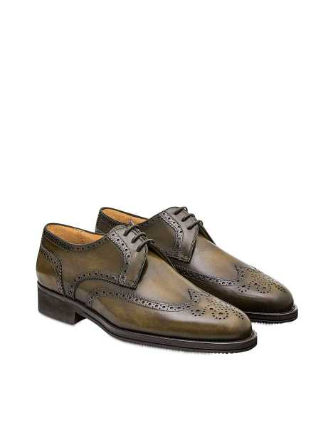Pakerson  Shoes Olive Italian Handmade Calfskin Lace-Up Shoes Dark Green USA - GOOFASH - Mens FORMAL SHOES